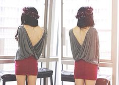 Red Skirt  Haut décolleté  Jupe rouge  From lookbookstore