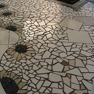 Hometalk :: Made of stone and broken and cut tiles.