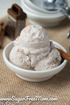 Keto Dairy Free Cinnamon Ice Cream is a creamy, sweet and indulgent dessert perfect for a fall get together! Keto Dairy Free Cinnamon Ice Cream is a creamy, sweet and indulgent dessert perfect for a fall get together! Sugar Free Ice Cream, Sugar Free Peanut Butter, Low Carb Ice Cream, Healthy Ice Cream, Low Carb Sweets, Low Carb Desserts, Frozen Desserts, Frozen Treats, Diabetic Desserts