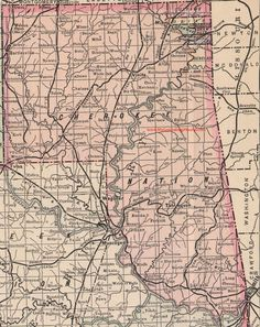 A vintage 1905 map of the Cherokee Nation Indian Territory (now Oklahoma) with numerous locations including Afton, Bartlesville, Chelsea, Claremore, Miami, Sallisaw, Stilwell, Tahlequah, Vinta.  This area would later be divided into a number of Oklahoma Counties: Adair County, Cherokee County, Craig County, Delaware County, Mayes County, Nowata County, Ottawa County, Rogers County, Sequoyah County, Washington County, Oklahoma. The complete list of locations can be viewed on My Genealogy…