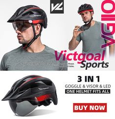 VICTGOAL PROFESSIONAL BICYCLE HELMET,LEADING THE NEW STYLE OF CYCLING Magnetic Goggles + Sun Visor, Strongest Protection That You Ever Had Bicycle Helmet, Bike, All In One, Cycling, Strong, Led, Baseball Cards, Sports, Style