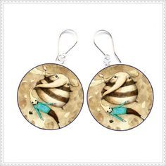 Earrings decoupage vintage colours circles crafts by SzaraLotka, $18.00