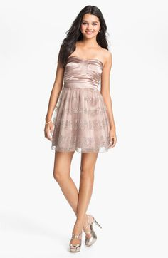 Trixxi Glitter Fit & Flare Dress (Juniors) available at Nordstrom Fit And Flare Cocktail Dress, Fit Flare Dress, Semi Formal Dresses, Mesh Skirt, Sweetheart Dress, New Fashion, Fashion Trends, Junior Dresses, Nordstrom Dresses