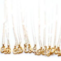 Small Letter Charm Necklaces in Gold letter necklaces by cnicole, $46.00
