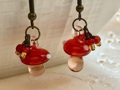 Red Mushroom Earrings Lampwork Doodaba Glass Dangle Earrings Red Earrings, Glass Earrings, Stuffed Mushrooms, Dangles, Vintage Fashion, Bronze, Crystals, Antiques, Etsy