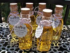 Vintage Style Honey Bottles With Corks- Perfect For Weddings or Parties - DIY Honey Wedding Favors - 6 Pieces - hb6. $12.95, via Etsy.