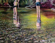 Wer suchet der findet | Malerei von Künstlerin Simone Westphal, Acryl auf Leinwand