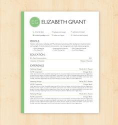 Resume Template / CV Template - The Elizabeth Grant Resume Design - Instant Download - Word Document  /Doc / Docx Format