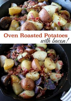 Oven Roasted Potatoes - easy recipe with bacon and more spices - great ...