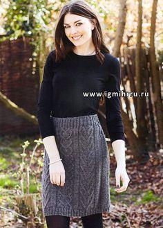 Универсальная юбка-карандаш с причудливым сочетанием узоров из кос. Спицы