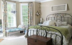 Beautiful master bedroom with lots of thrift shop finds