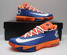 f926adb895d8 Nike KD VI 6 Size 10 - Thunder City - Kevin Durant -Orange Blue  White-N7-EXT GUM