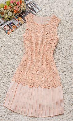 Crochet Lace Peach Dress