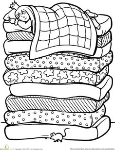 Fairy tale coloring pages and worksheets help your kid experience the magic and mystery of traditional stories. Try fairy tale coloring pages and worksheets. Coloring Book Pages, Coloring Pages For Kids, Coloring Sheets, Fairy Tales Unit, Fairy Tale Theme, Traditional Tales, Princess And The Pea, Nursery Rhymes, Preschool