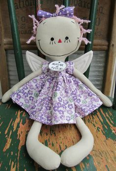 Fairy in Purple handmade cloth rag doll.