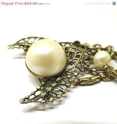 Pearl Brooch - Vintage, Gothic, Gold Tone, Faux Pearl Dangle, Art Deco Pin, Costume Jewelry Brooch by MyDellaWear on Etsy