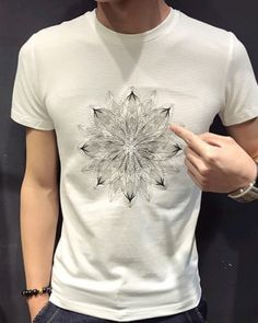 flower embroidered t shirts mens fashion slim fit short sleeve tee shirts Printed Tees, Embroidered Flowers, Hiphop, Tee Shirts, Slim, Mens Fashion, Sleeve, Fabric, Mens Tops