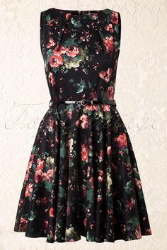 Closet - 50s Floral Fit and Flare Dress in Black