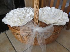 Weddings Handmade Large White  Paper Flowers Ready to by mcfunk90, $36.00