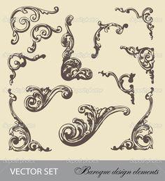 depositphotos_26907497-Vector-set-baroque-design-elements.jpg (933×1023)