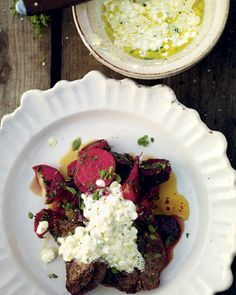 David Loftus smoked beets with grilled steak and a cottage cheese dressing