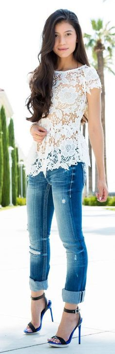 Making Distressed Denim Feminine by Stylishly Me