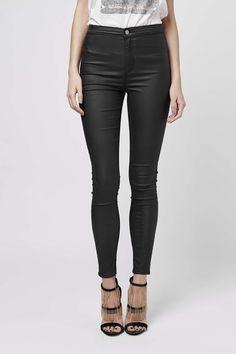 MOTO Black Coated Joni Jeans - Topshop