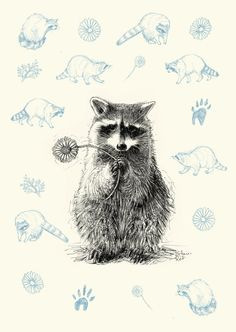 Racoon Greetingcard Postcard A5 Recyclingpaper by KatharinaRot