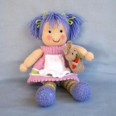 Lucy Lavender and bunny knitting pattern Pdf INSTANT by dollytime