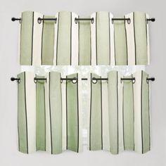 Cafe Stripe Sage Window Curtain Tiers, 100% Cotton - BedBathandBeyond.com