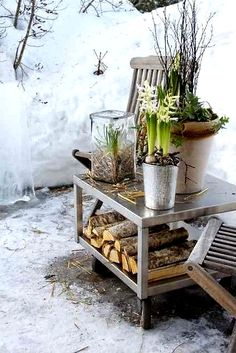 Sweet little winter garden. It's perfect for building a small fire and enjoying the brisk winter air. #home # garden