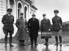 Scottish soldier William Ironside (1880 - 1959), French soldier General Georges, English statesman Winston Churchill (1874 - 1965), French soldier Maurice Gustave Gamelin (1872 - 1958) and English soldier General Gort (1886 - 1946) outside Headquarters in France.