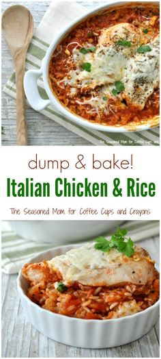 Made tonight - yum! This one-dish Dump and Bake Italian Chicken and Rice is an easy dinner that comes together in just a few minutes and requires minimal clean up. Even the rice cooks in the baking dish! Dump Meals, One Pot Meals, Easy Meals, Fast Dinners, Italian Dishes, Italian Recipes, Turkey Recipes, Chicken Recipes, Healthy Dinner Recipes