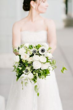 White & Greenery Bridal Bouquet. Love this timeless & classic city wedding at San Francisco Ferry Building wedding venue w navy blue & gold details, white floral design & bouquets, custom welcome gifts, planned & designed by Amy Nichols Special Events, a luxury wedding planner in San Francisco, serving California, wine country, Napa, Sonoma, Hawaii, Bali, Mexico & destinations worldwide. California Wedding, California Wine, Northern California, Autumn Wedding, Green Wedding, Timeless Wedding, Wedding Designs, Wedding Ideas, Brides And Bridesmaids