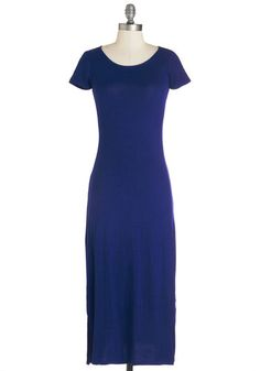 Long-term Love Dress in Blue - Blue, Solid, Casual, Maxi, Short Sleeves, Knit, Long, Jersey, Scoop