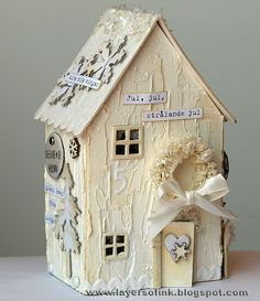 Layers of ink: Winter Wonderland House-if I ever get caught up on other projects! I just loved the little cardboard houses under our tree then I was growing up. I have one vintage house I purchased, but often thought it would be fun to make them. Putz Houses, Bird Houses, Cob Houses, All Things Christmas, Christmas Home, Decoration St Valentin, Paper Houses, Cardboard Houses, Wooden Houses