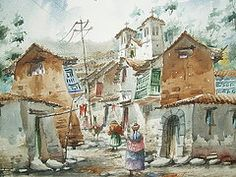 Cusco Paintings - Streets of Cusco  by Wilbert Hancco Zamata