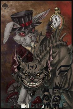 White rabbit with red eyes Cheshire Cat with fangs and blood dripping Again, hippies saw Alice In Wonderland through new eyes, not always so innocent. As I look back, I'm struck by the many Victorian influences on hippie style and thought.