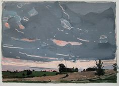 Rose End Original September Sunset Landscape Painting by Paintbox