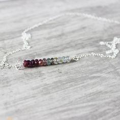 rainbow sapphire silver bar necklace