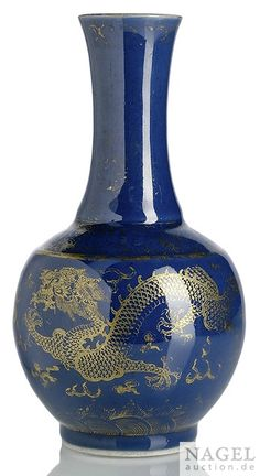 A gilt-painted powderblue-ground dragon bottle vase, iron-red Guangxu mark and period