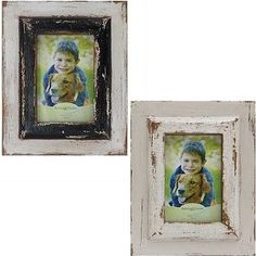 Distressed Wood Photo Frames, Set of 2 1