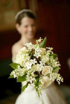 Cream Roses, White Stephanotis, White Lily Of The Valley, Green Foliage Wedding Bouquet