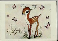 Fawn and Butterflies - Vintage  Russian Postcard USSR by LucyMarket, $2.99