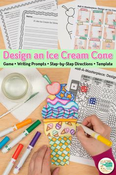 Need an end of year art project to keep your upper elementary students from melting? Here's a fun roll-a-dice game to design an ice cream cone. Art Games For Kids, Art Lessons For Kids, Art Lessons Elementary, Summer Art Projects, Summer Crafts For Kids, Projects For Kids, Drawing Games, Drawing For Kids, Art Sub Plans