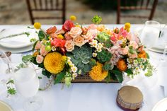 Peach and Yellow Centerpiece