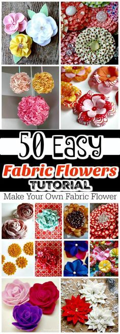 50 Easy Fabric Flowers Tutorial Make Your Own Fabric Flowers is part of Fabric Crafts DIY - You don't know how to make fabric flower Checkout these 50 DIY fabric flowers tutorial that will soon leave you as a professional fabric flower maker! Easy Fabric Flowers, Material Flowers, Fabric Flower Tutorial, Cloth Flowers, Fabric Roses, Felt Flowers, Diy Flowers, Paper Flowers, Fabric Flower Pattern