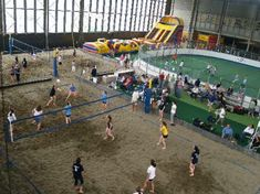 Indoor sports complex... Sand Volleyball, soccer field, and a bounce thing?  NEBRASKA should have this for the crappy weather we have!