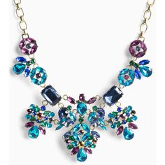 Torrid Gemstone Cluster Statement Necklace featuring polyvore women's fashion jewelry necklaces accessories colorful necklaces multi colored statement necklace multicolor gemstone necklace art deco necklace bib statement necklace