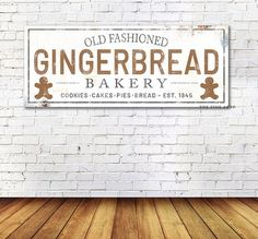 Gingerbread Bakery Sign Christmas Farmhouse Large Gift for Her Christmas Wall Decor For Sale Wall Ar Christmas Pallet Signs, Cabin Christmas, Holiday Signs, Christmas Wood, Modern Christmas, Tartan Christmas, Christmas Towels, Christmas Stuff, Vintage Christmas